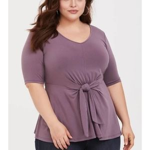 Torrid Purple Studio Knit Tie Front Top,sz 3
